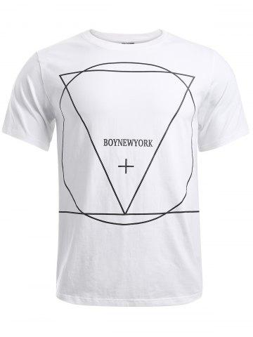 Online BoyNewYork Geometric Pattern Solid Color T-Shirt WHITE L
