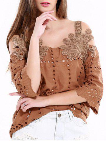 Store Vintage Hollow Out Solid Color Blouse
