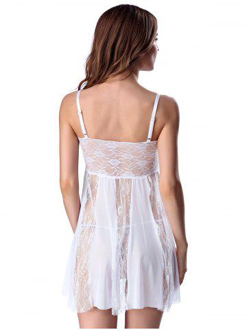 Unique Stylish Women's Strappy See-through Lace Splicing Babydoll - L WHITE Mobile
