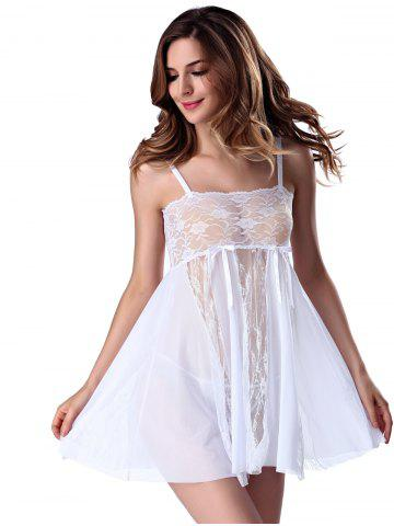 Shop Stylish Women's Strappy See-through Lace Splicing Babydoll - L WHITE Mobile