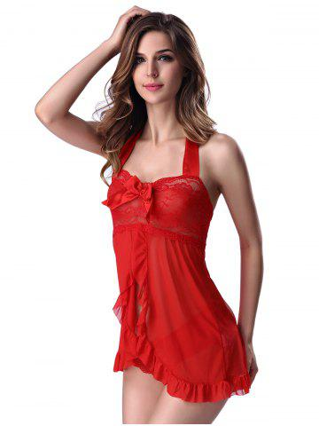 Store Stylish Women's Halter Lace Splicing Bowknot Babydoll - M RED Mobile