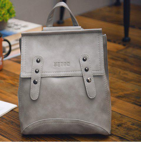 New Vintage Solid Color and Buckle Design Satchel For Women