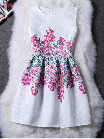 Latest Charming Round Collar Sleeveless Floral Print Women's Dress WHITE M