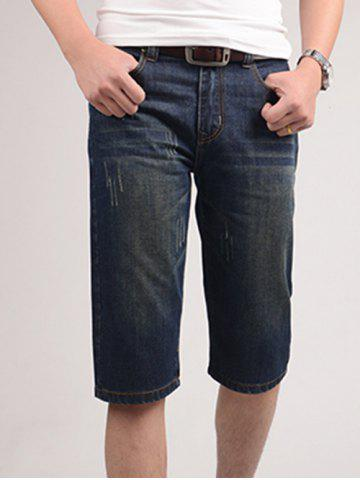 Unique Zipper Fly Solid Color Bleach Wash Straight Leg Denim Jeans Shorts For Men