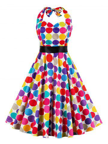 Fancy Retro Halter Sweetheart Neck Colorful Polk Dot Dress