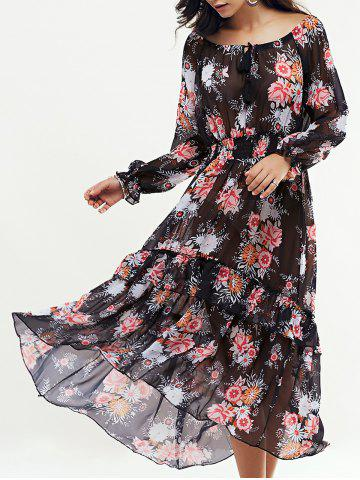 Outfit Bohemian Floral Swingy Long Sleeve Maxi Dress