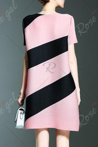 Fancy Short Stripe A Line Dress - ONE SIZE(FIT SIZE XS TO M) PINK Mobile