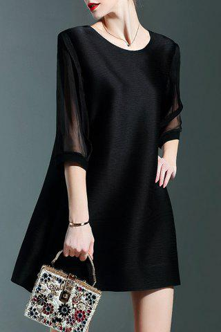 Noir en mousseline de soie Mini-robe Spliced