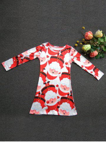 Fashionable Round Neck Long Sleeve Santa Claus Print Mini Christmas Dress For Girl