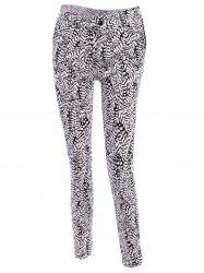 Simple Buttoned Leaf Print Pants For Women -