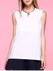 Brief High Low Side Slit White Tank Top For Women -