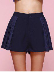 Stylish High Waist Side Pleated Shorts For Women -