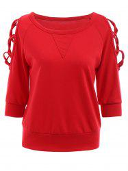 Mode col rond manches 3/4 Criss-Cross évider Sweatshirt Red For Women - Rouge L