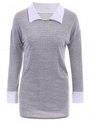Casual Flat Collar Long Sleeve Color Block Blouse For Women