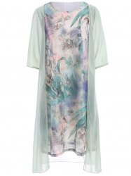 Ladylike Scoop Neck 3/4 Sleeve Floral Print Faux Twinset See-Through Dress For Women -