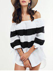 Off-The-Shouder Striped Blouse