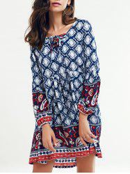 Tribal Printed Lace Up Long Sleeve Dress - PURPLISH BLUE