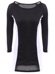 Stylish Scoop Neck Long Sleeves Color Splicing Dress For Women -