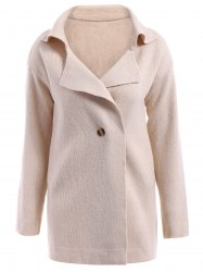 Casual Turn-Down Collar Loose-Fitting Solid Color Long Sleeve Women's Cardigan