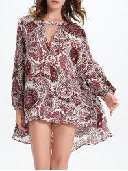 Long Sleeve Cut Out Jacquard Print Asymmetric Blouse -