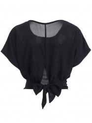 Dolman Sleeve Back Bowtie Cropped Blouse -
