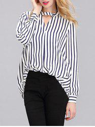Simple Women's Long Sleeves Striped Loose Shirt