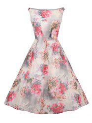Retro Slash Neck Floral Print Fit and Flare Dress -