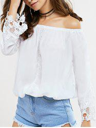 Lace Trim Cutwork Off The Shoulder Blouse