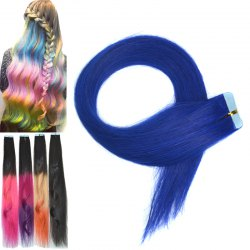 Fashion Colorful Traceless Long Straight Human Hair Extension For Women - SAPPHIRE BLUE