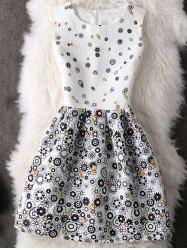 Cute Round Neck Abstract Floral Print Women's Dress -
