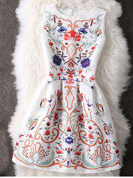 Charming Round Neck Ornate Printed Women's Dress - WHITE M