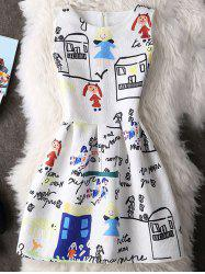 Cute Round Neck Sleeveless Cartoon Print Women's Dress