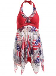 Halter Neck Flag Print Irregular Hem Two Piece Swimsuit