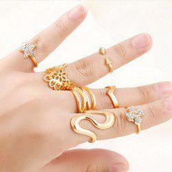 A Suit of Geometric Hollow Out Floral Star Zigzag Rings -