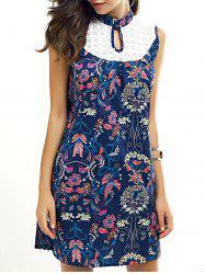 Ladylike Keyhole Neck Lace Splicing Dress - BLUE