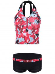 Chic Halter feuilles Sets Print Tankini - Rouge