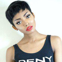 Masculine Ultrashort Black Women's Synthetic Hair Wig - BLACK