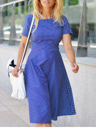 Vintage Polka Dot Printed Belted Midi Dress For Women - PURPLISH BLUE