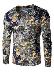 V-Neck Color Block Ethnic Style Floral Pattern Long Sleeve T-Shirt For Men - COLORMIX 2XL