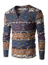 V-Neck Color Block Spliced Ethnic Style Pattern Long Sleeve T-Shirt For Men - DEEP BLUE