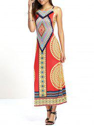 Exotic Backless Tribal Print Cut Out Dress