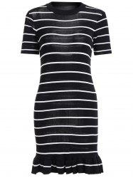 Striped Short Sleeve Mermaid Knit Dress -