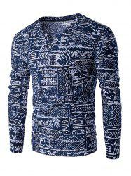 V-Neck Buttons Design Abstract Ethnic Style Pattern Long Sleeve T-Shirt For Men