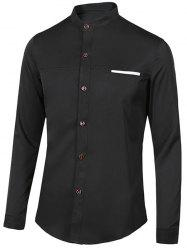 Edging Stand Collar Long Sleeve Shirt For Men
