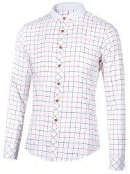 Checked Button-Down Stand Collar Long Sleeve Shirt For Men