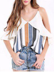 Spaghetti Strap Hollow Out Printed Tank Top
