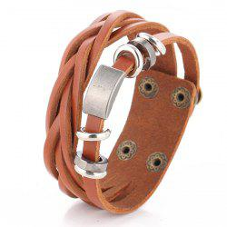 Vintage Faux Leather Alloy Round Bracelet