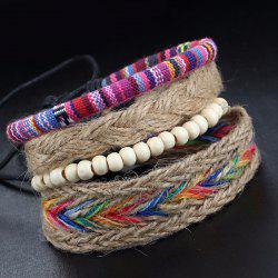 A Suit of Vintage Layered Faux Leather Beads Wrap Bracelets -