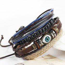 A Suit of Vintage Devil Eye Faux Leather Beads Bracelets For Men