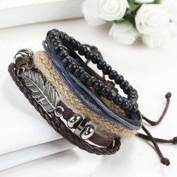 A Suit of Vintage Faux Leather Beads Feather Bracelets For Men - BLACK